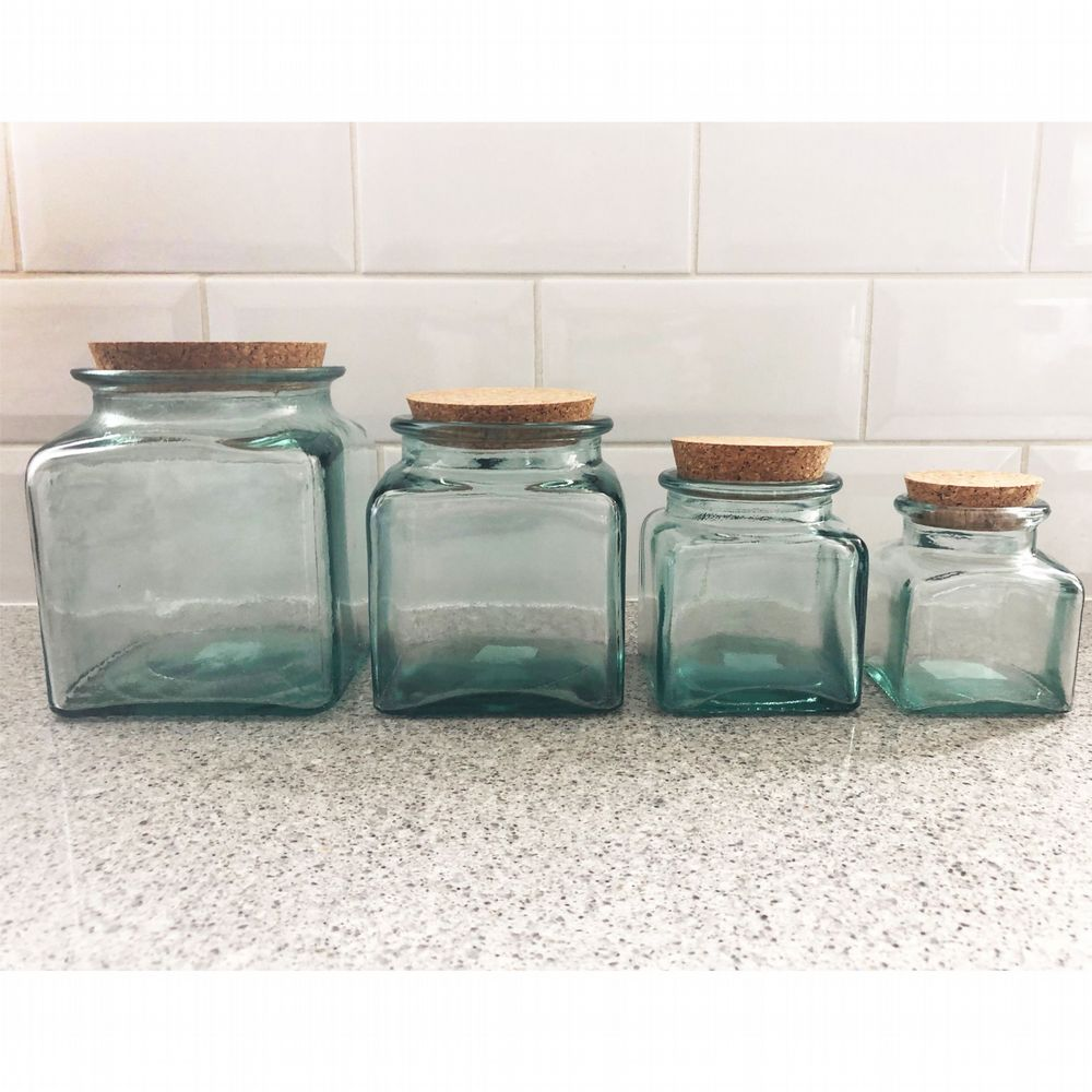 Recycled Glass Storage Jar With Cork Lid - 4 Sizes Available